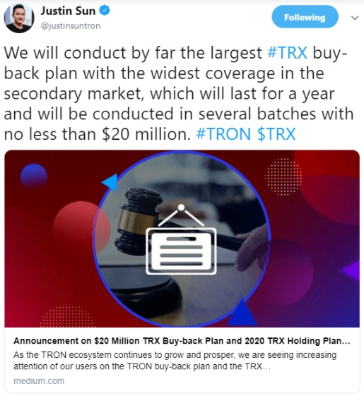 TRX $20 Million Buy-Back