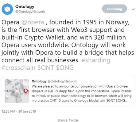 Ontology (ONT) Announces Cooperation with Opera Browser in DeFi & dApp field